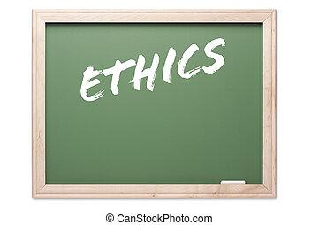 reeks, ethiek, -, chalkboard