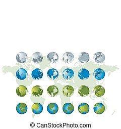 reeks, globe, 3d, kaart, wereld