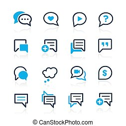 reeks, hemelsblauw, bel, //, iconen
