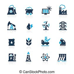reeks, hemelsblauw, energie, //, iconen