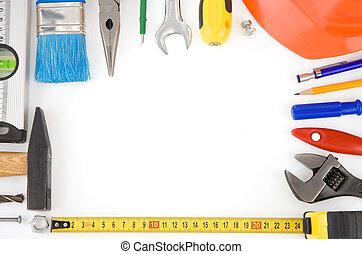 reeks hulpmiddelen, en, instrumenten, vrijstaand, op wit