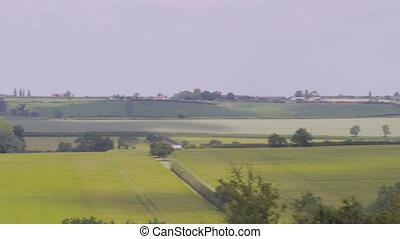 reeks, massief, vlakte, groene, bedekking, velden
