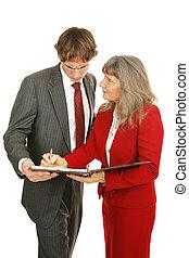 reeks, -, mentor, bespreken, arme prestatie
