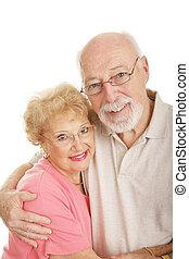 reeks, -, optisch, senior, gelukkig paar