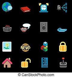 reeks, pictogram, set, internet, web