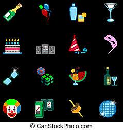 reeks, set, pictogram, feestje