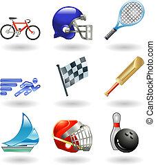 reeks, set, sporten, pictogram, glanzend