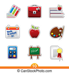 reeks, sticker, opleiding, -, tien