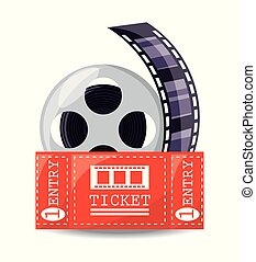 reel filmstrip with ticket to short film