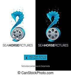 reel., fogalom, seahorse, film, elszigetelt, ábra, vektor, logo., film