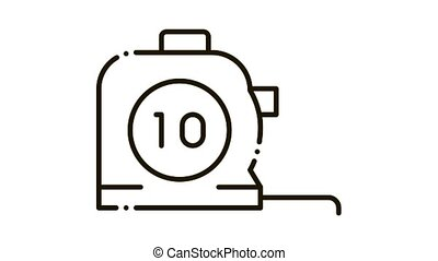 Reel Meter Tool Icon Animation. black Reel Meter Tool animated icon on white background