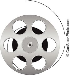 Cinematographic film is wound onto the spool. Vector illustration.