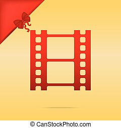 Reel of film sign. Cristmas design red icon on gold background.