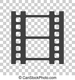 Reel of film sign. Dark gray icon on transparent background.