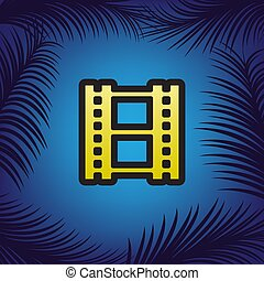 Reel of film sign. Vector. Golden icon with black contour at blu