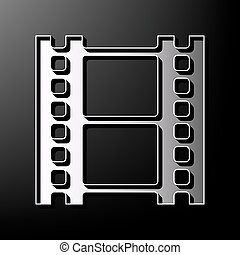 Reel of film sign. Vector. Gray 3d printed icon on black background.