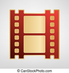 Reel of film sign. Vector. Red icon on gold sticker at light gray background.