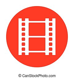 Reel of film sign. White icon on red circle.