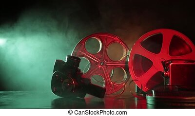 Reel of film with smoke and backlight - Old reel of film...