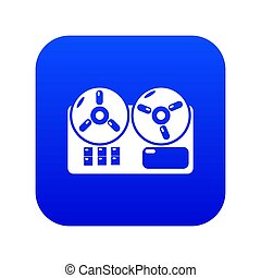Reel tape recorder icon blue