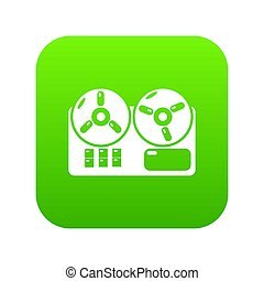 Reel tape recorder icon green