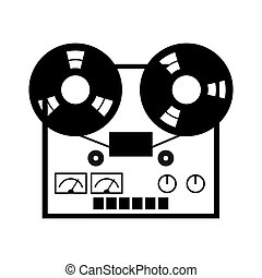 Reel tape recorder icon. Simple symbol on a white background
