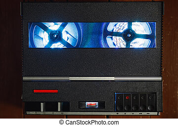 reel to reel audio tape recorder with blue led light strip. ...