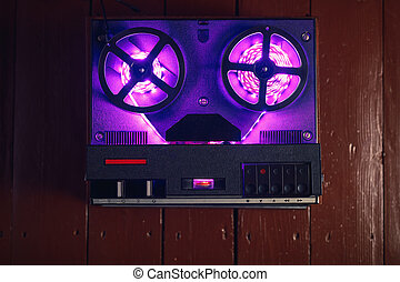 reel to reel audio tape recorder with purple led light strip...