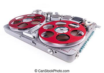 Reel to reel audio tape recorder wsr 3 - Wide shot of a reel...