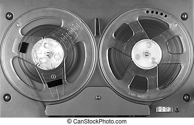 Reel to reel player and recorder close up image