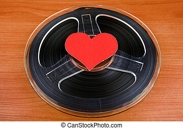Reel to Reel Tape - Vintage Reel with a Tape and Red Heart ...