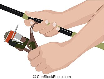 reel - isolated fishing reel and hands of angler