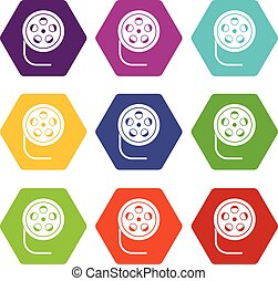 Reel with film icon set color hexahedron