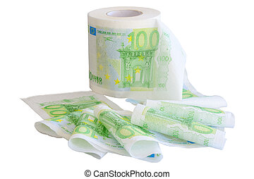 Reeled off toilet paper with 100 Euro banknotes image...