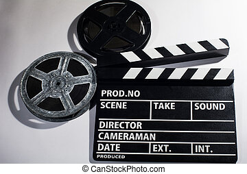 Reels of film with a clap movie