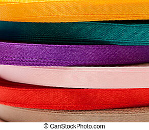 Reels of many-colored ribbons