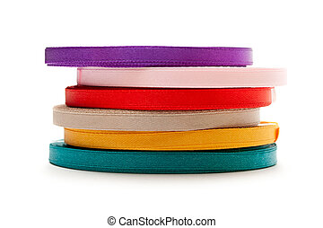 Reels of ribbon isolated on the white background