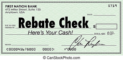 reembolso, oferta, dinero, espalda, reembolso, palabras, efectivo, cheque