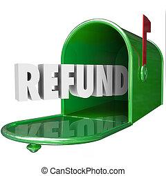 reembolso, palabra, recibir, dinero, impuesto, espalda, buzón, entrega