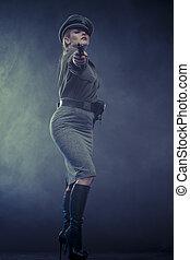 reenactment, ämbetsman, tysk, kvinna, representation, av,...