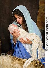 reenactment, van, kerstmis geboorte