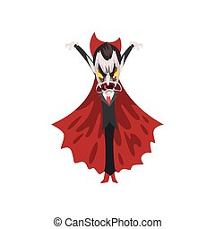 reepy furious Count Dracula with burning eyes, vampire cartoon character wearing in a red cape vector Illustration on a white background