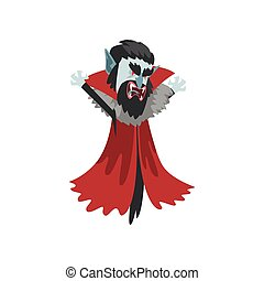 reepy furious Count Dracula with sharpen fangs, vampire cartoon character wearing in a red cape vector Illustration on a white background