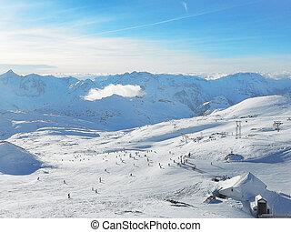 refúgio esqui, declives, vista aérea, frança
