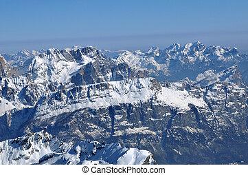 refúgio esqui, em, a, dolomites