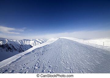 refúgio esqui, em, agradável, dia