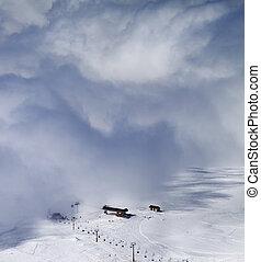 refúgio esqui, em, nuvens