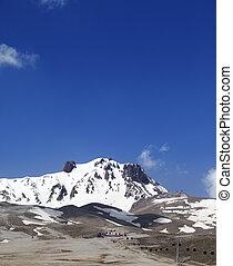 refúgio esqui, em, primavera