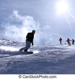 refúgio esqui, itália, homem, snowboarding
