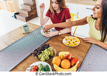 refeição., comer, saudável, amigos, legumes, kitchen.,...